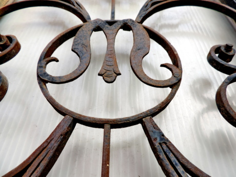 baroque, cast iron, fence, iron, ornament, rust, symbol, old