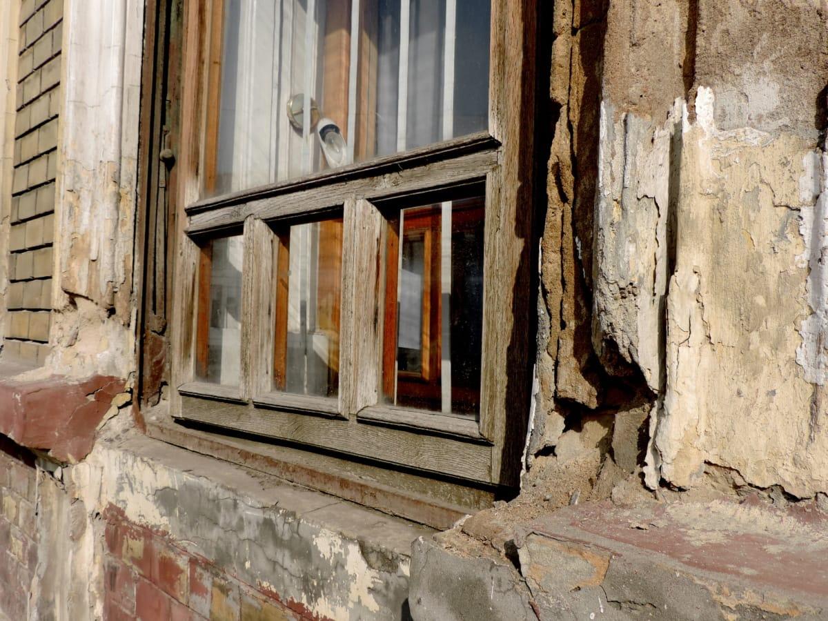 elhagyott, régi, Könyöklő, ablak, épület, építészet, ház, fal