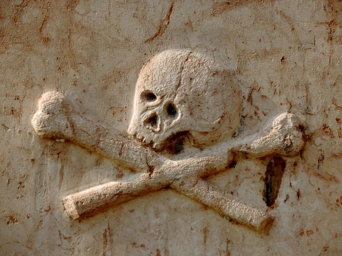 костите, Византийски, гробище, надгробна плоча, средновековна, стар, православна, череп