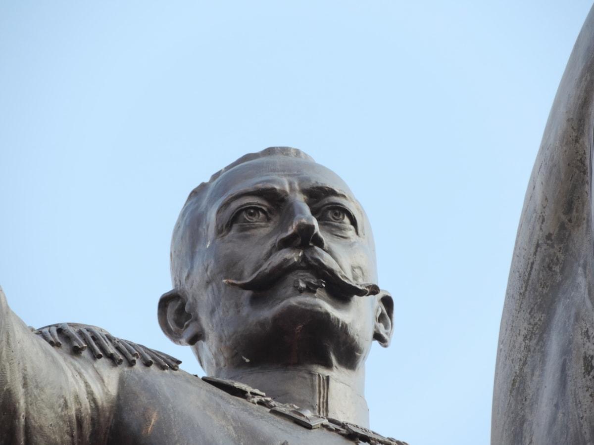 bronze, face, king, mustache, Serbia, sculpture, statue, art