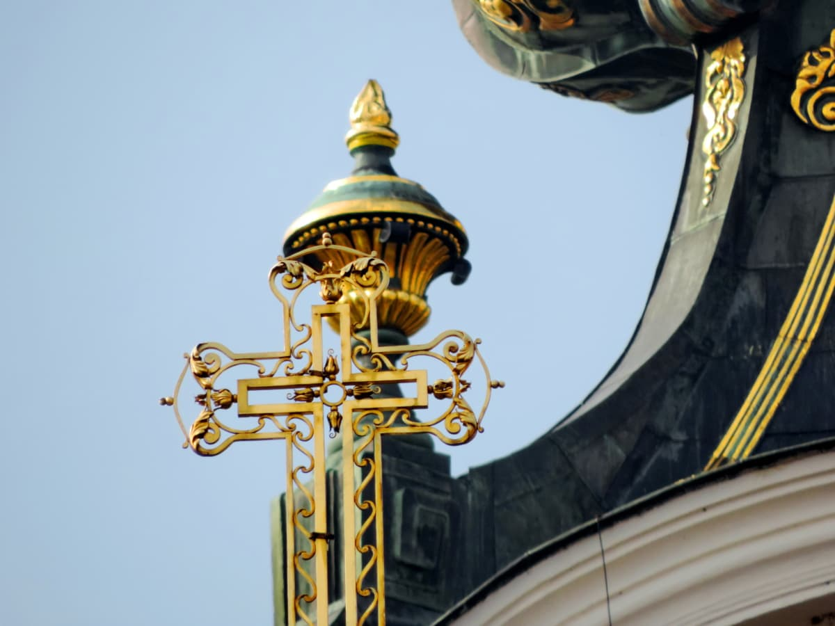 arabesque, baroque, cross, gold, building, cathedral, religion, dome