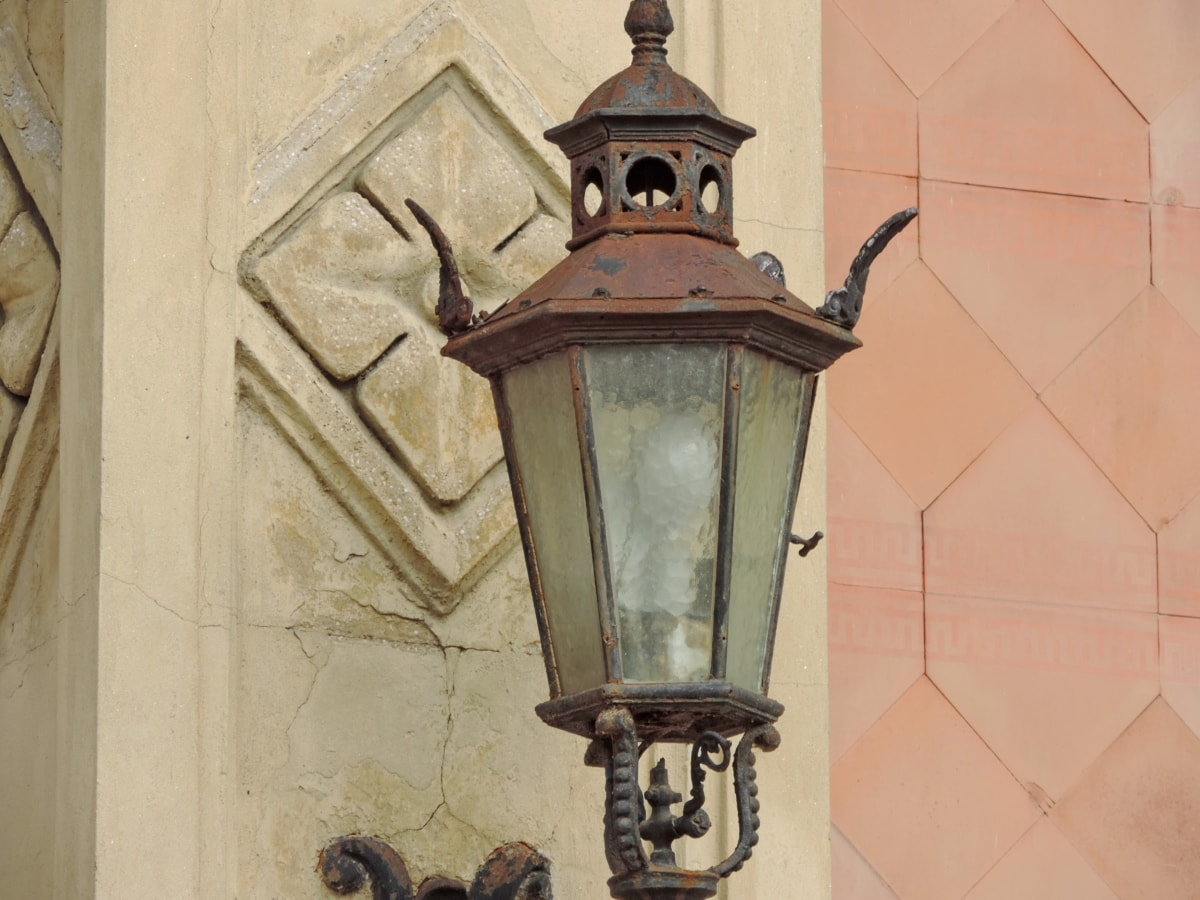 støbejern, håndlavede, rust, antik, enhed, lanterne, arkitektur, gamle
