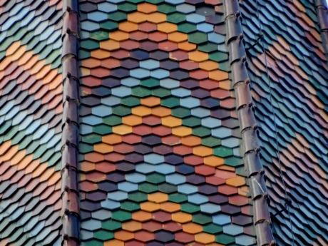 baroque, church tower, colorful, roof, mosaic, tile, pattern, texture