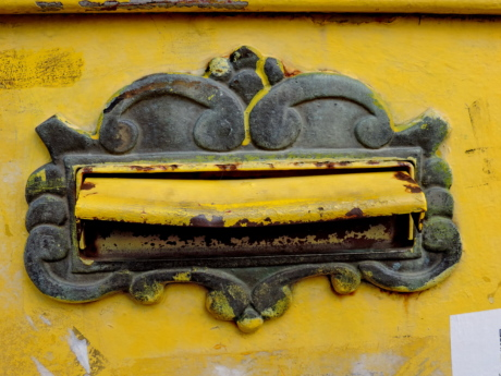 baroque, cast iron, mail slot, mailbox, old, dirty, iron, antique