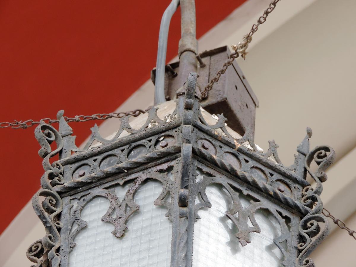 абстрактни, чугун, фенер, архитектура, катедрала, декорация, религия, дизайн