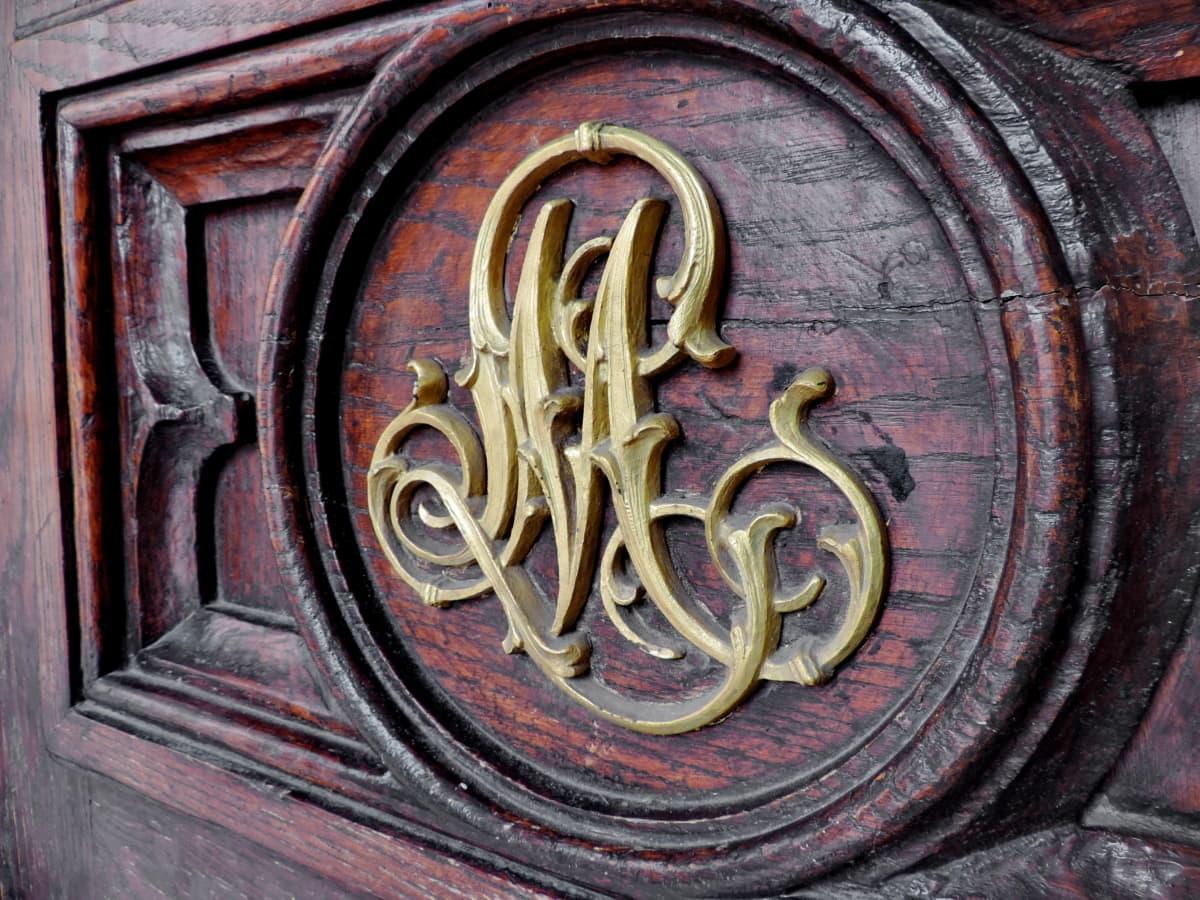 baroque, front door, handmade, heraldry, brass, old, religion, art