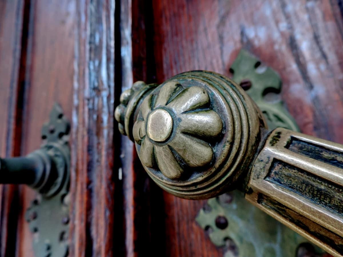 ορείχαλκος, μπροστινή πόρτα, συσκευή, παλιά, πόρτα, βίδας, κλειδαριά, Σίδερο