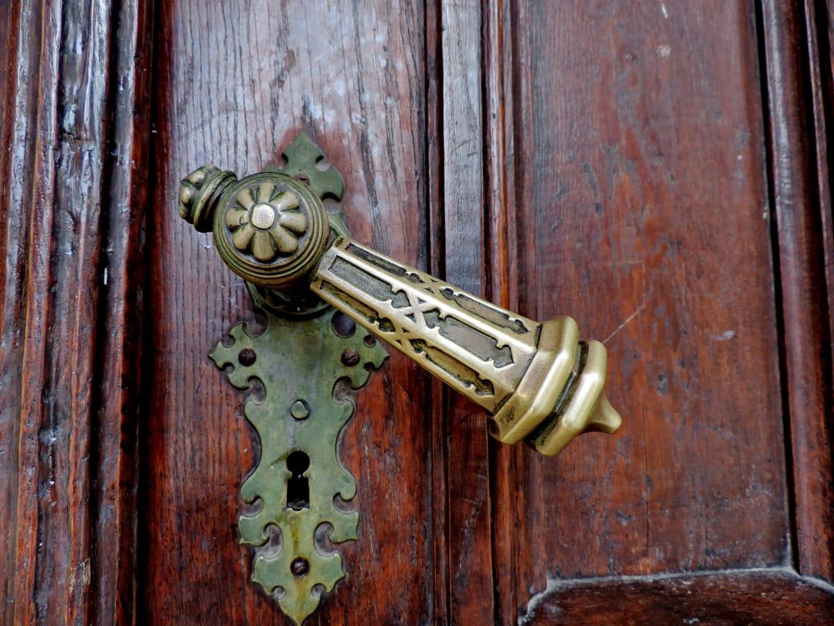 barokk, sárgaréz, bejárati ajtó, kézzel készített, biztonsági, zár, kapu, ajtó