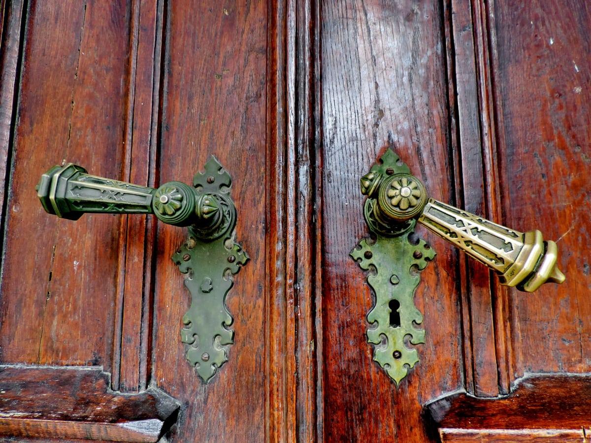 antik, barokk, sárgaréz, bejárati ajtó, kulcslyuk, retro, fa, ajtó