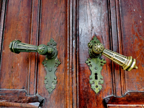 antique, baroque, brass, front door, keyhole, retro, wood, door