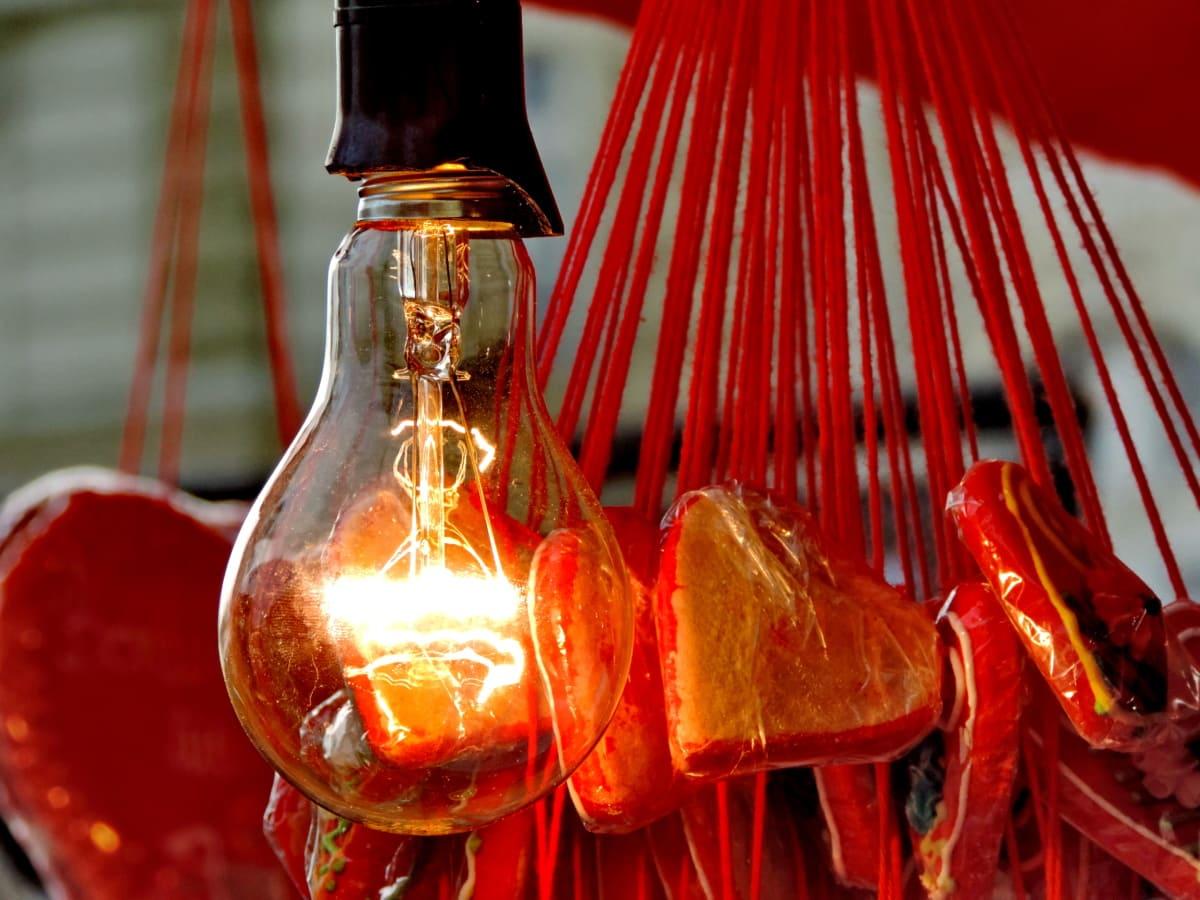 декорация, сърца, електрическа крушка, стъкло, традиционни, свещ, празник, светлина