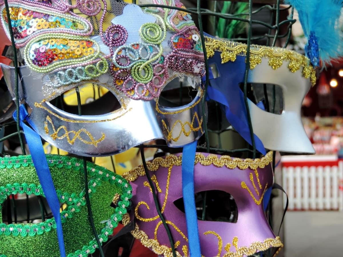 เทศกาล, หน้ากาก, คาร์นิวัล, แบบดั้งเดิม, แฟนซี, สนุก, ตกแต่ง, เครื่องแต่งกาย