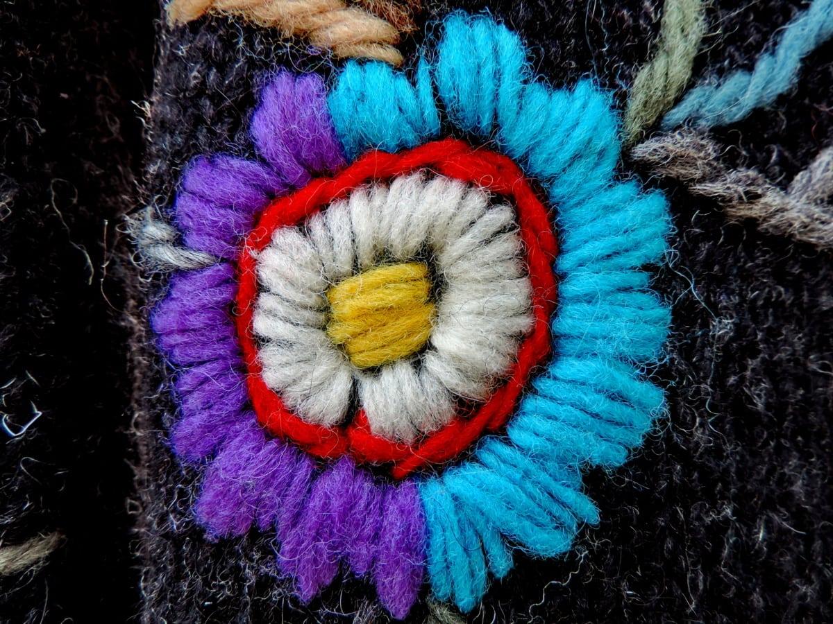 handgefertigte, Textil-, Wolle, Blume, Farbe, Dekoration, Kunst, Design