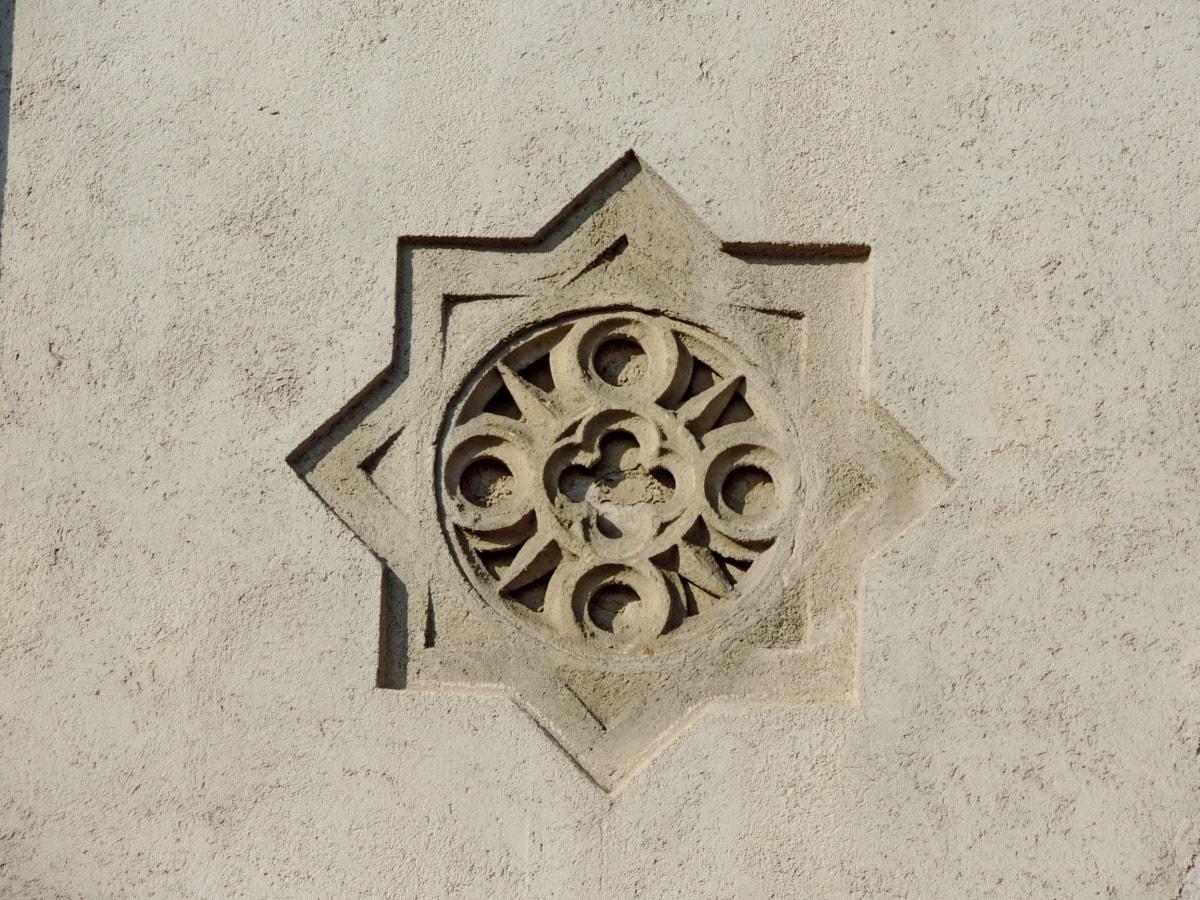 arabeszk, homlokzat, régi, fal, szüret, antik, építészet, ősi