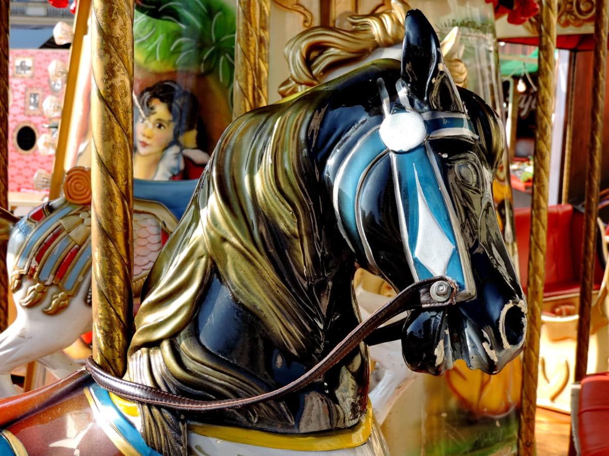 πολύχρωμο, άλογο, παιχνίδια, μηχανισμός, εναλλασσόμενες εικόνες, Καρναβάλι, ψυχαγωγία, διασκέδαση