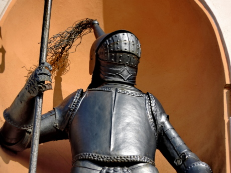 cast iron, knight, medieval, sculpture, shield, armor, sword, weapon