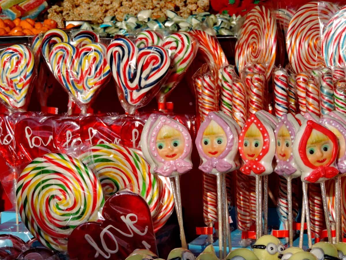 καραμέλα, πολύχρωμο, καρδιά, κατάστημα, Ζαχαροπλαστειο, διακόσμηση, ζάχαρη, χρώμα