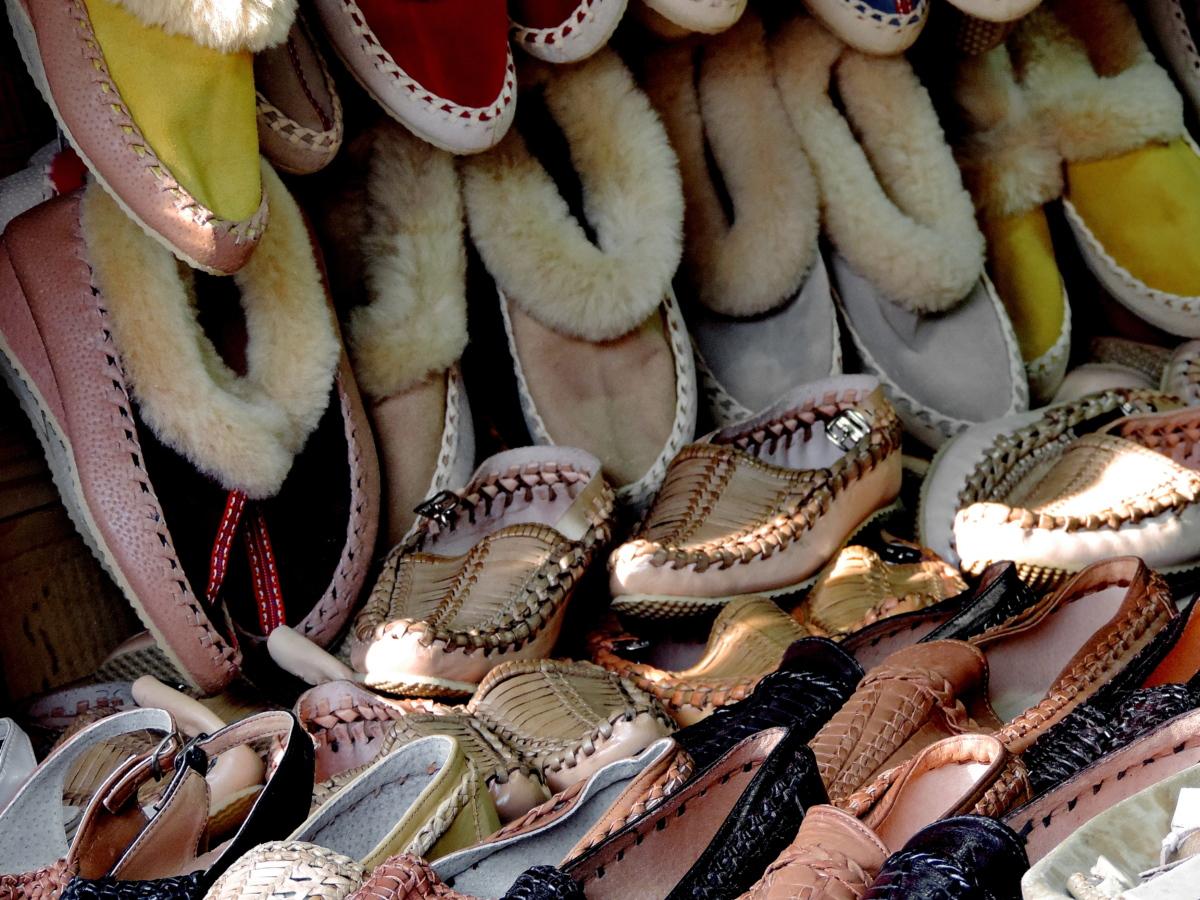 fodtøj, håndlavede, sko, myymälä, traditionelle, dekoration, mange, tæt på