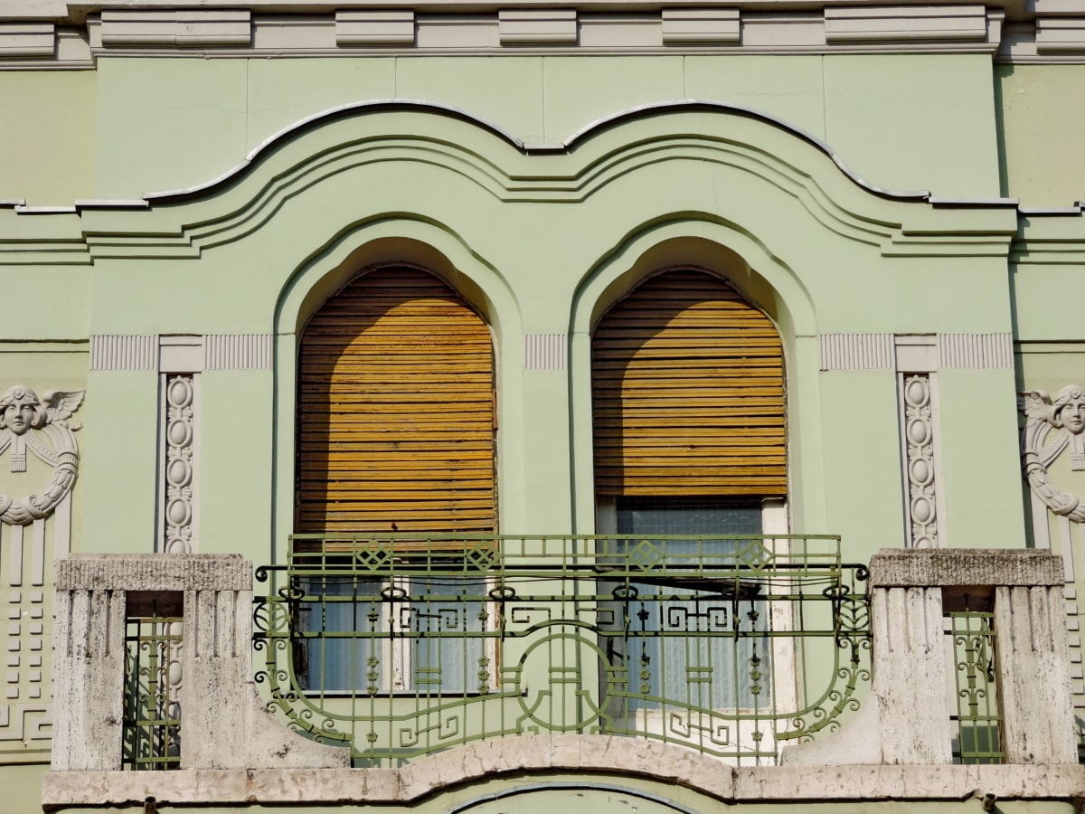 architecture, building, facade, balcony, window, house, old, wall
