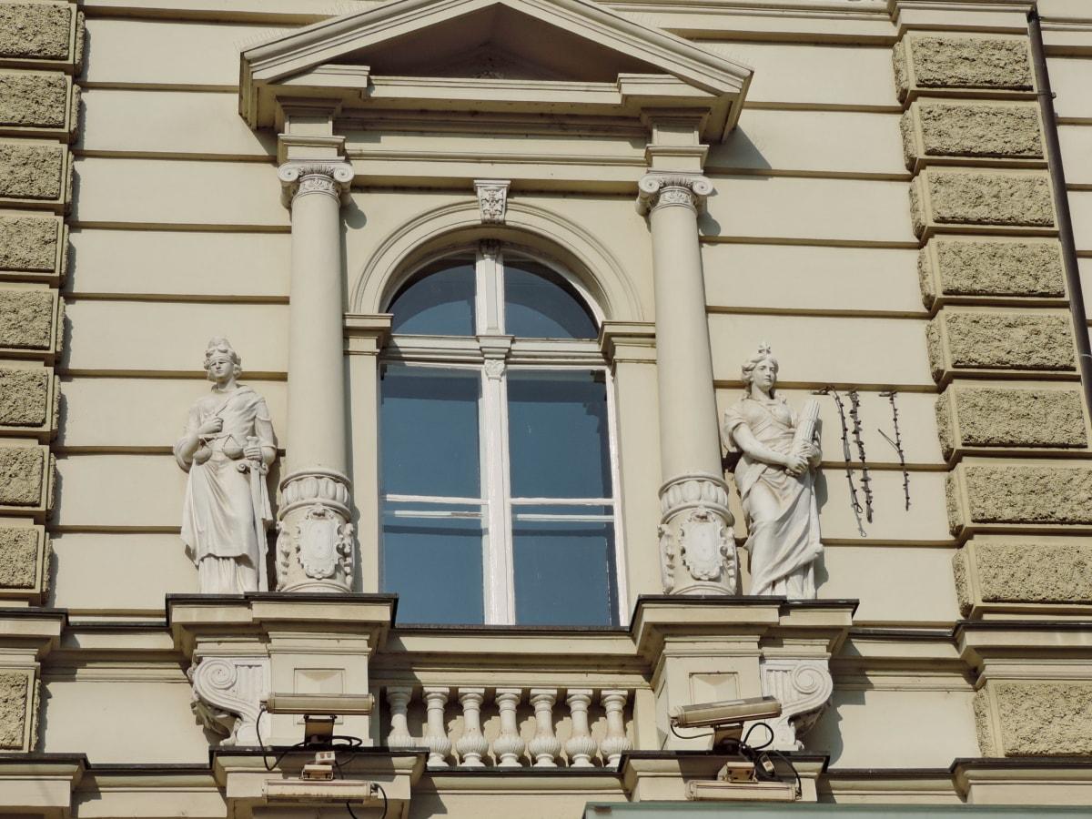 Művészet, szobrászat, homlokzat, építészet, épület, régi, ház, ablak