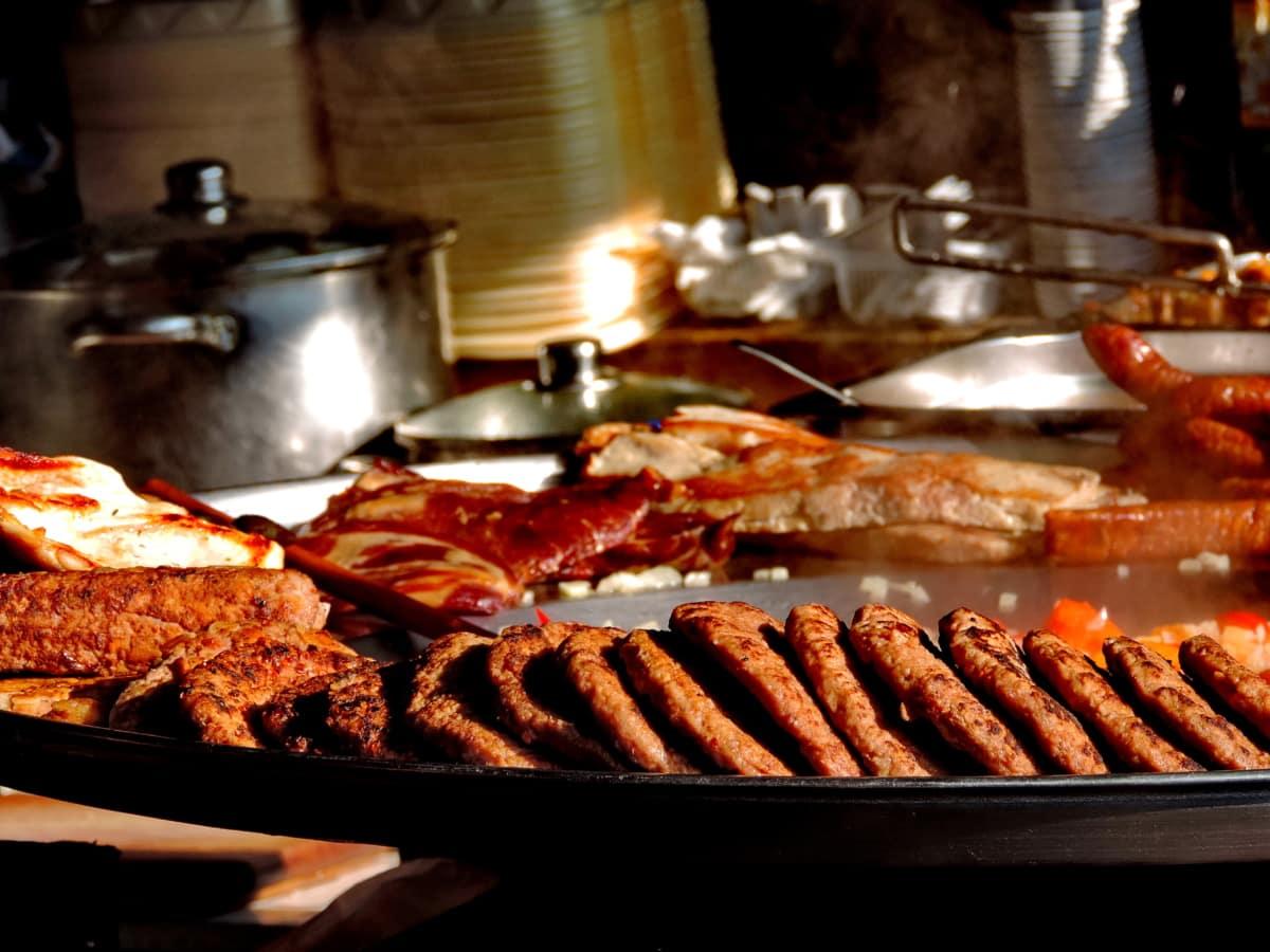 korv, kött, grillplats, mat, grillen, måltid, lunch, Matlagning