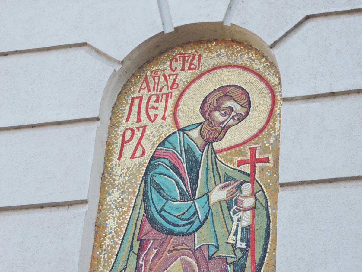 拜占庭, 基督, 基督教, 马赛克, 装饰, 老, 墙上, 艺术
