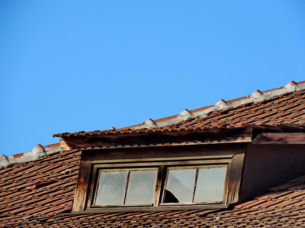 αρχιτεκτονική, στέγη, κεραμίδι, υλικό κατασκευής σκεπής, σπίτι, που καλύπτει, στον τελευταίο όροφο, παράθυρο