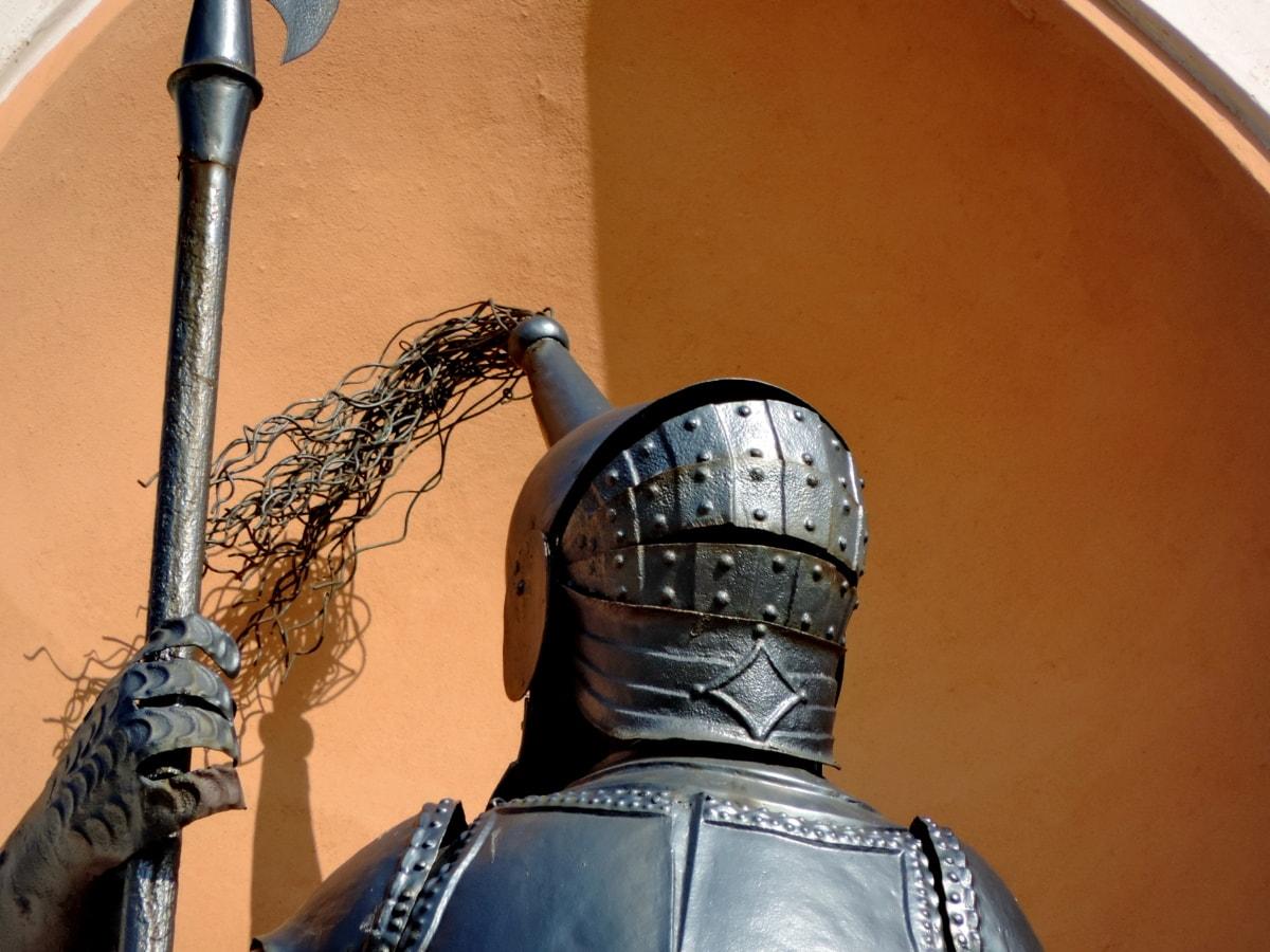 fer de fonte, casque, Chevalier, médiévale, statue de, gens, armure, vieux
