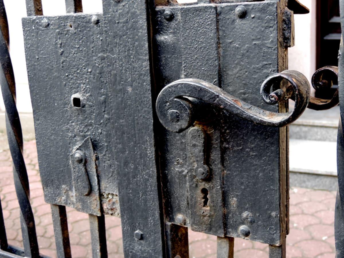 Χυτοσίδηρος, μπροστινή πόρτα, πύλη, βίδας, Σίδερο, Σύρτης, κλειδαριά, ασφάλεια