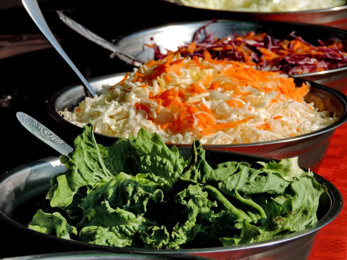 alface, salada, espinafre, saudável, almoço, vegetal, refeição, carne