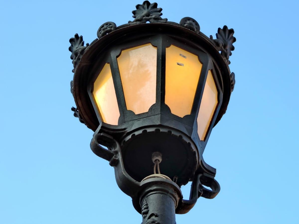Χυτοσίδηρος, ηλεκτρικής ενέργειας, λάμπα, Φανάρι, σε εξωτερικούς χώρους, αρχιτεκτονική, φωτιζόμενο, φωτεινή
