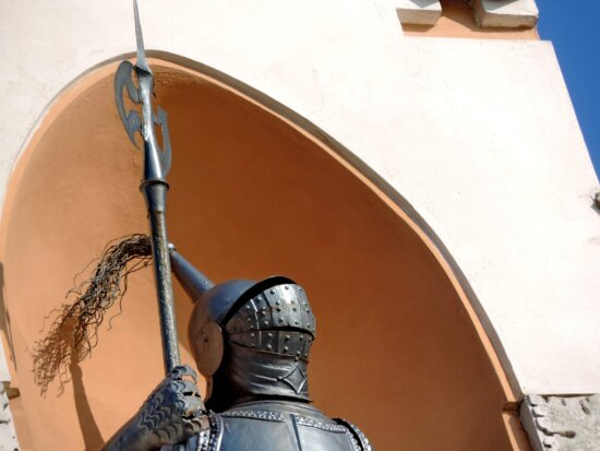 cast iron, knight, shield, art, old, antique, outdoors, armor