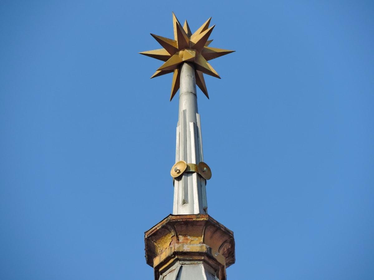 arkkitehtoninen tyyli, kirkon torni, arkkitehtuuri, ulkona, sininen taivas, perinteinen, veistos, uskonto
