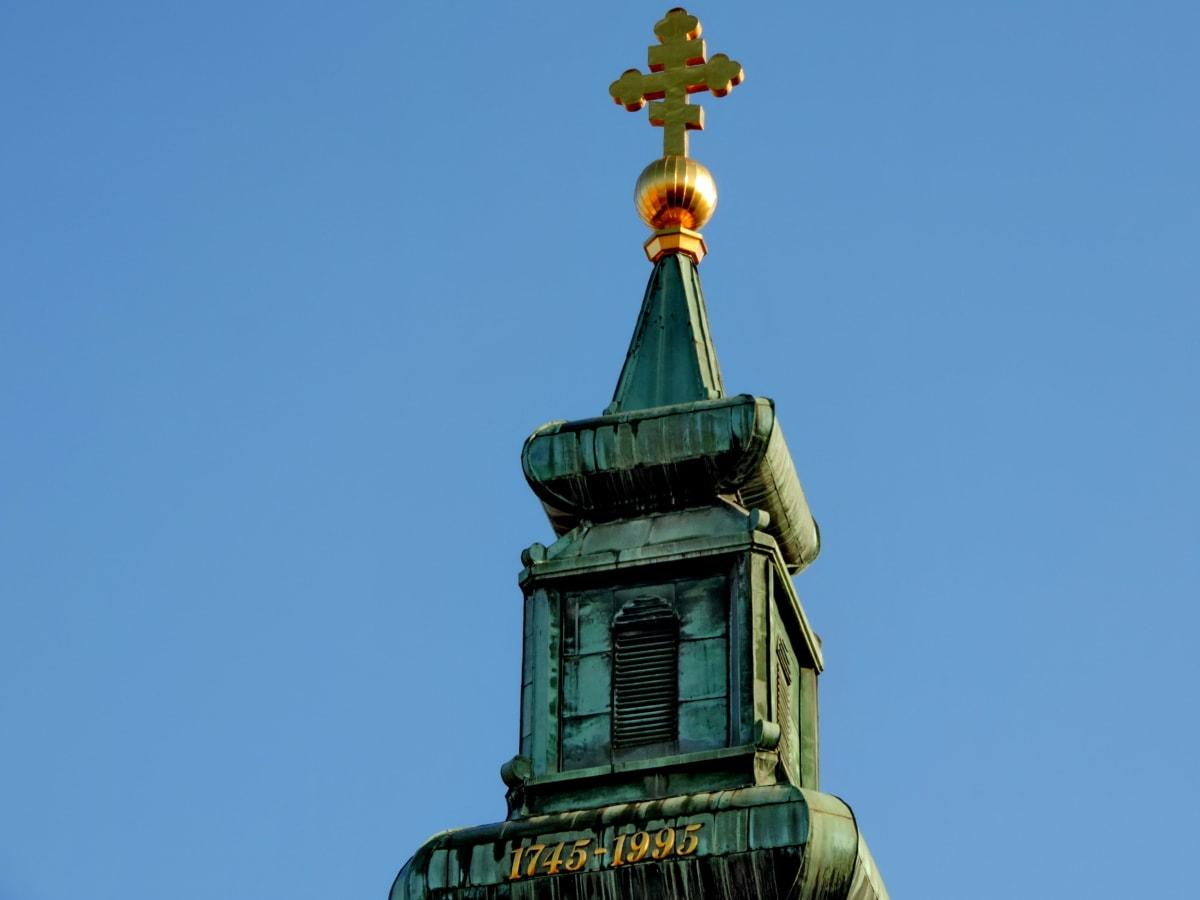 Църквата кула, кръст, православна, архитектура, на открито, стар, традиционни, синьо небе