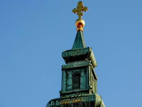 church tower, cross, orthodox, architecture, outdoors, old, traditional, blue sky