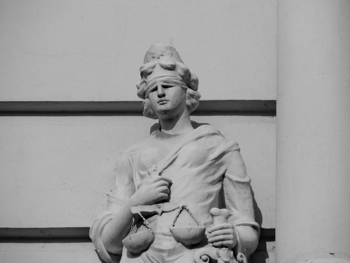 Justicia, escala, espada, escultura, estatua de, vertical, velo, mujer