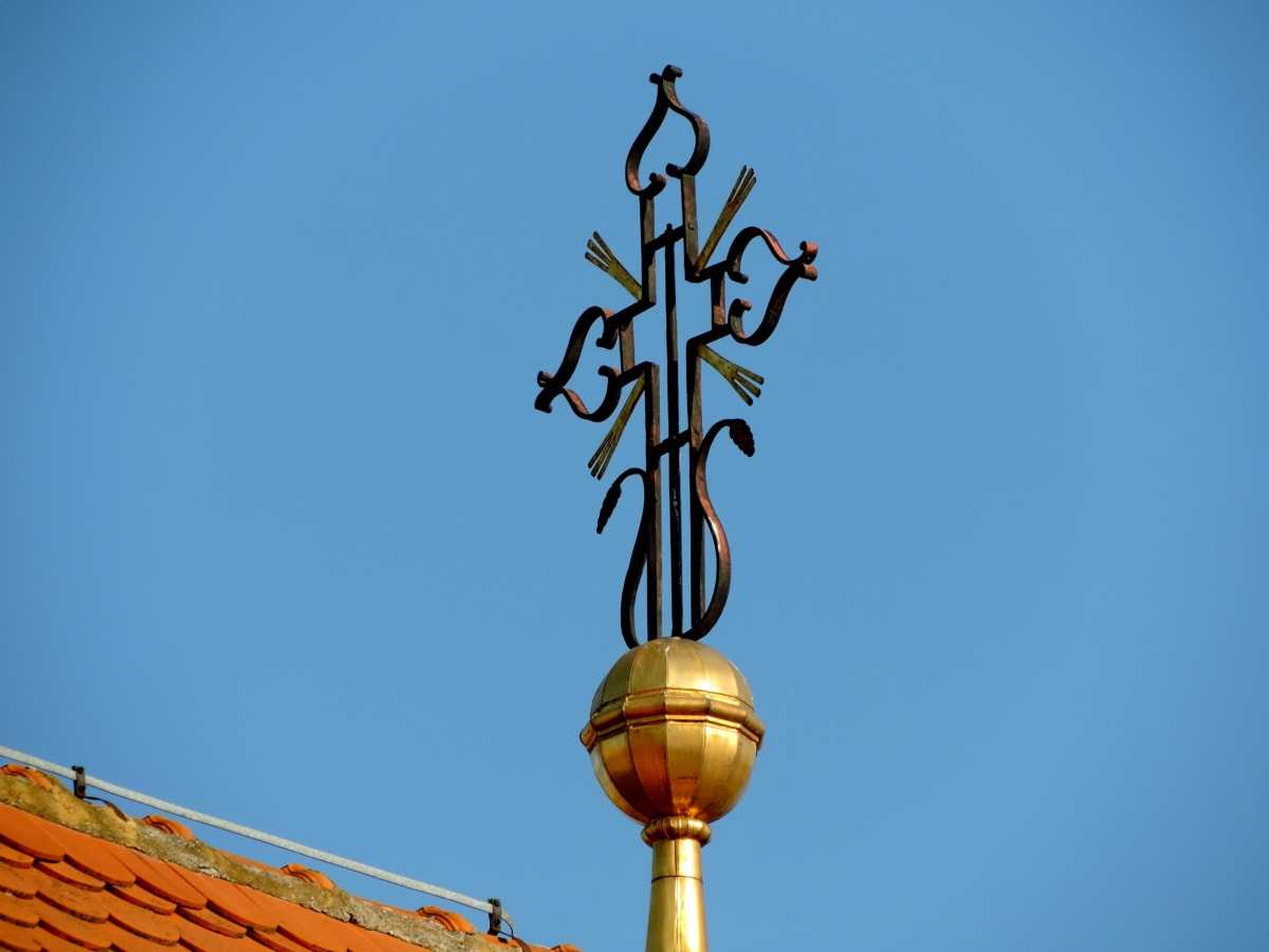 чугун, кръст, православна, архитектура, на открито, дневна светлина, синьо небе, стар