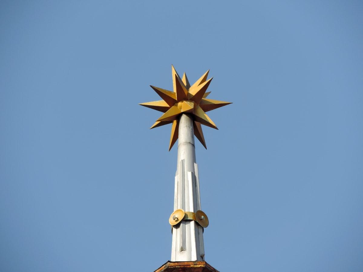 veža kostola, sochárstvo, vonku, príroda, letné, pekného počasia, modrá obloha, vietor