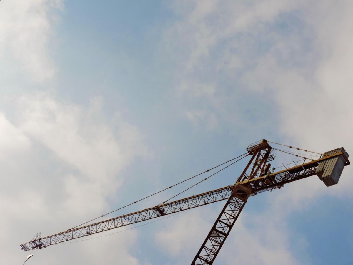 enhed, bygning, industri, industrielle, byggeri, kran, stål, høj