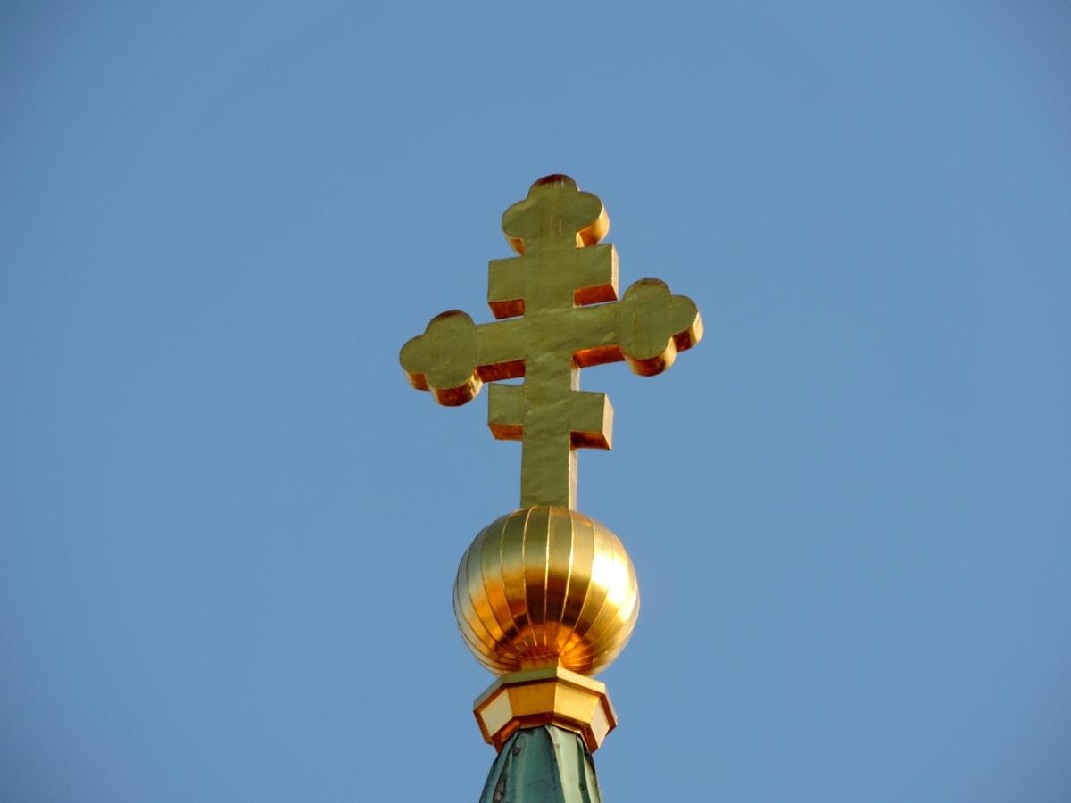 архитектурен стил, Църквата кула, кръст, Злато, православна, на открито, синьо небе, архитектура