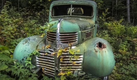 abandoned, forest, junkyard, old, rust, car, vehicle, grille