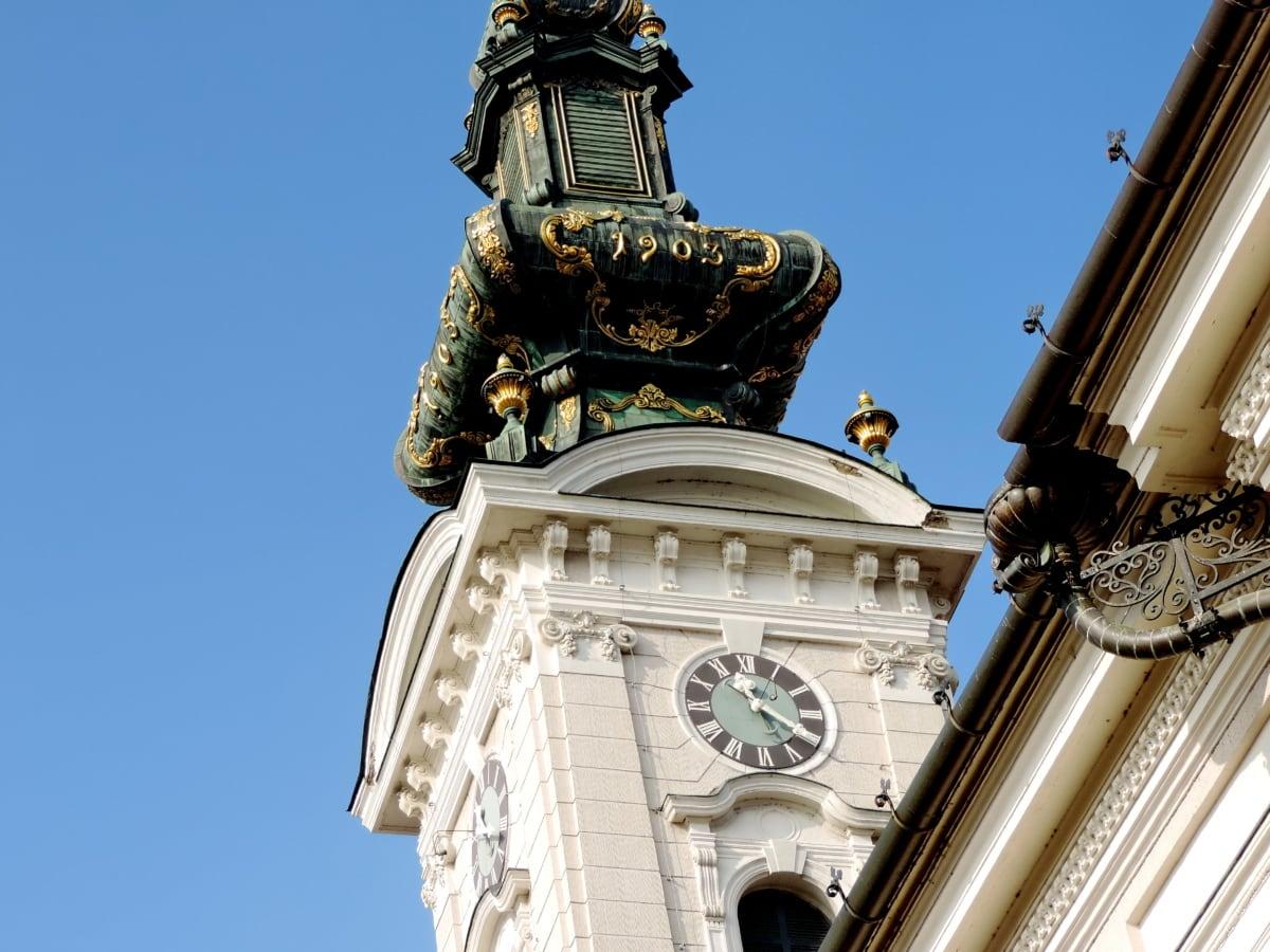 църква, архитектура, град, часовник, стар, Паметник, скулптура, статуя