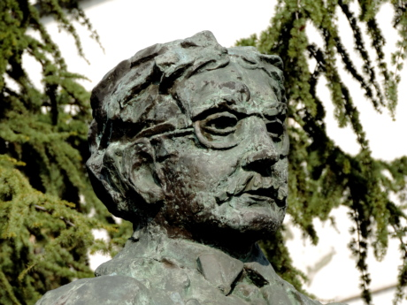 bronze, bust, statue, sculpture, art, old, park, tree
