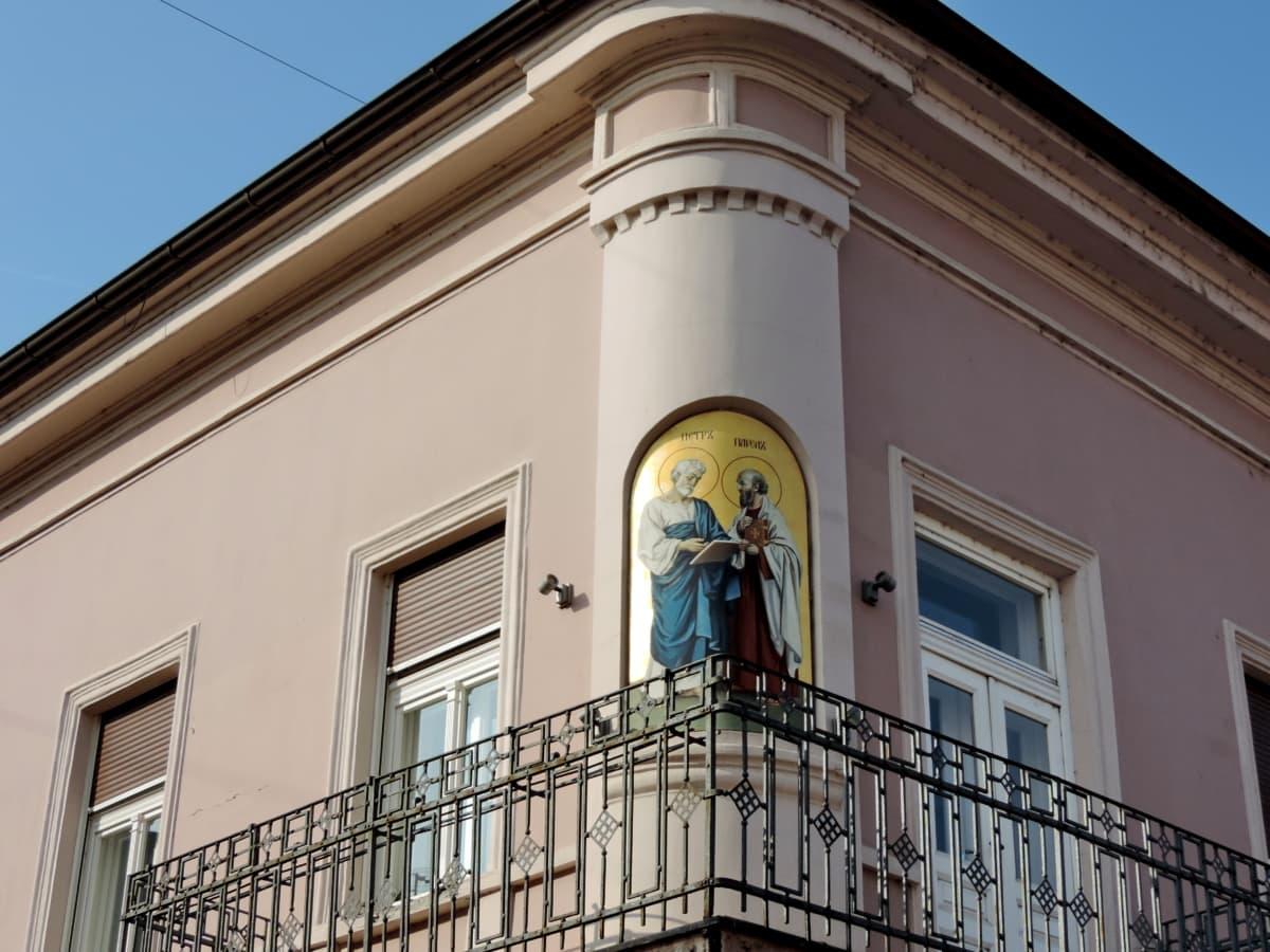 сграда, архитектура, балкон, град, Прозорец, къща, градски, улица