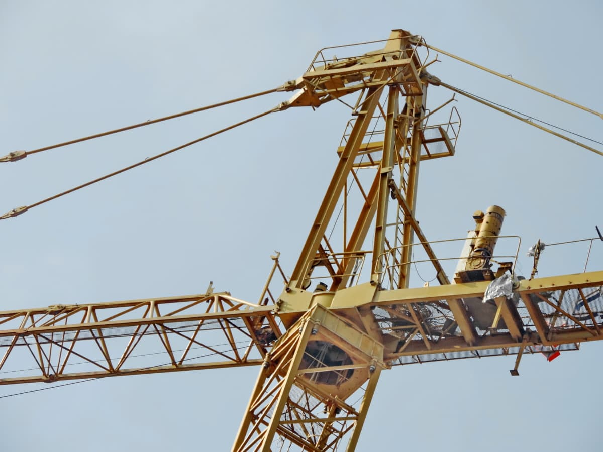 workplace, steel, high, construction, equipment, industry, crane, cable