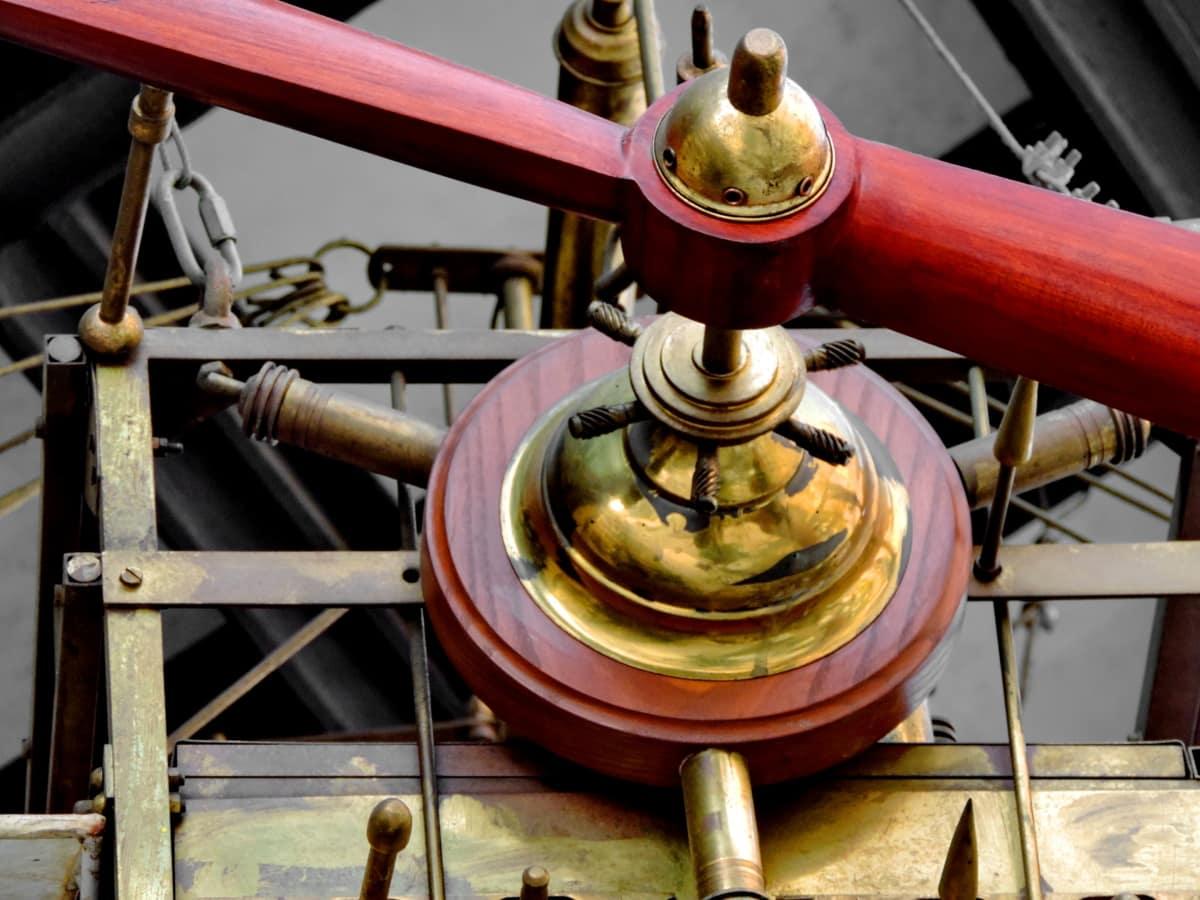 fly, flymotor, propel, gamle, udstyr, antik, rør, stål