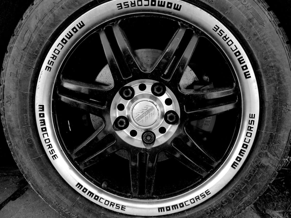 сплав, алуминий, Черно и бяло, спирачка, превозно средство, кола, колело, гума