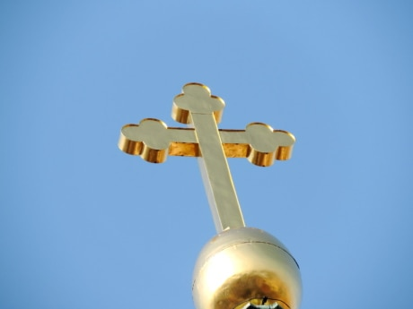 christianity, cross, gold, Heaven, top, outdoors, blue sky, nature
