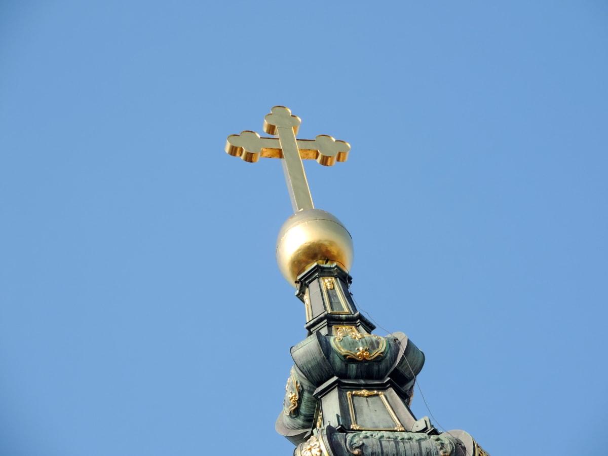 Croix, architecture, sculpture, statue de, lumière du jour, à l'extérieur, religion, ciel bleu