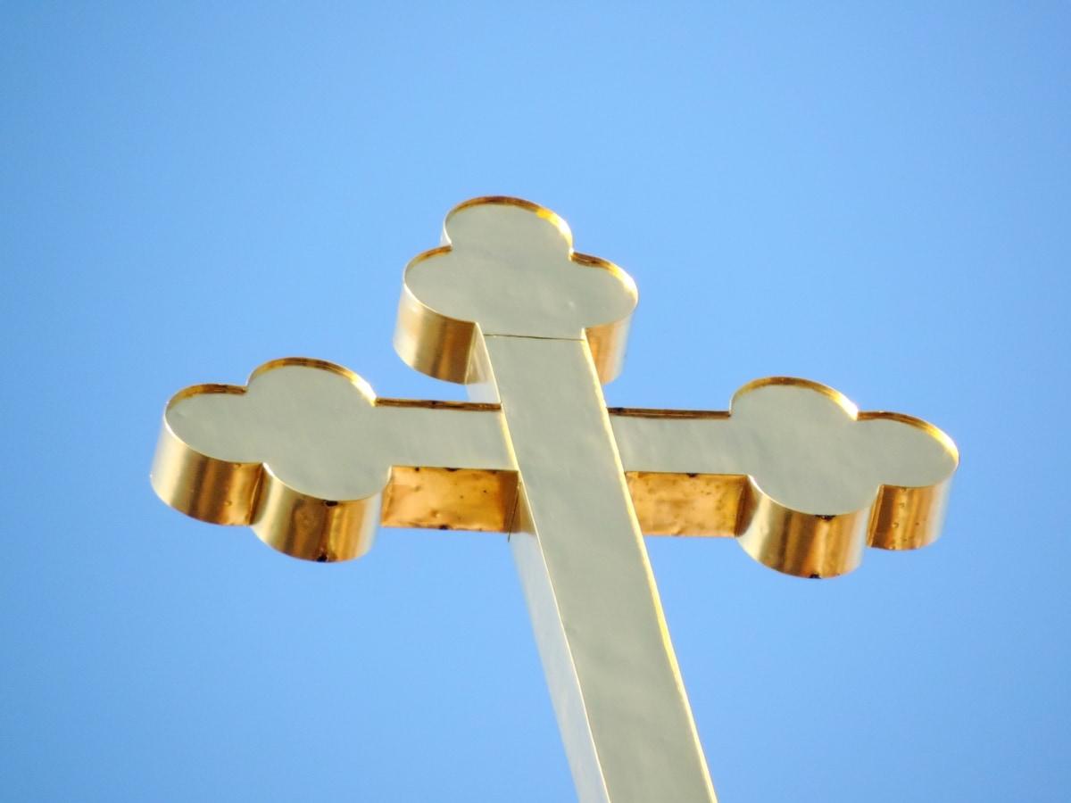 キリスト教, クロス, キリストの磔刑, ゴールド, 記号, アウトドア, 鋼, 青い空